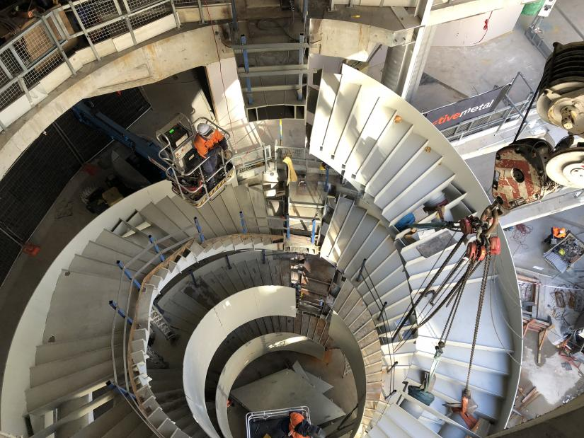 Top down image of the UTS Central double helix staircase
