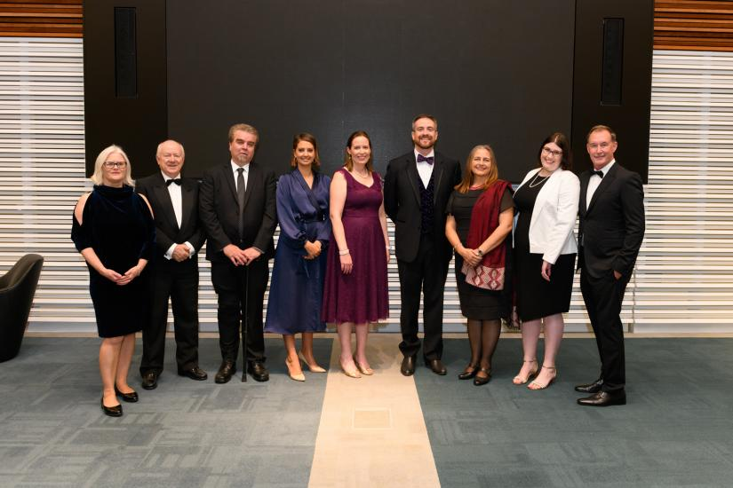 2019 Alumni Award winners with UTS Vice-Chancellor, Professor Attila Brungs and UTS Deputy Chancellor, Dr John Laker AO