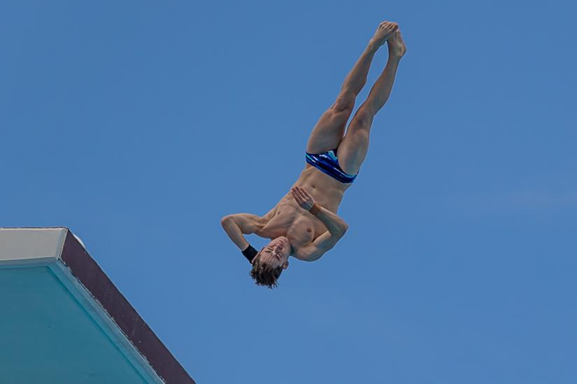 Nicholas Jeffree taking off on a dive