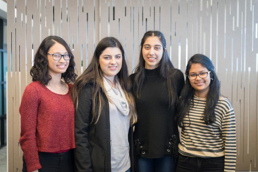 Westpac Scholars, Jessica Ong, Jessica Domazet, Kritika Khanna, Mathu Chockalingam smiling at the camera