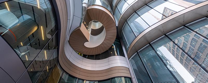 An external view of UTS Central showing the curved form of the building and the twist of the Reading Room spiral stair