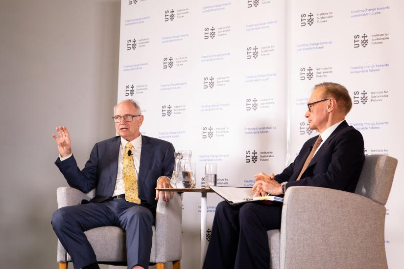 Ross Garnaut and Bob Carr on stage