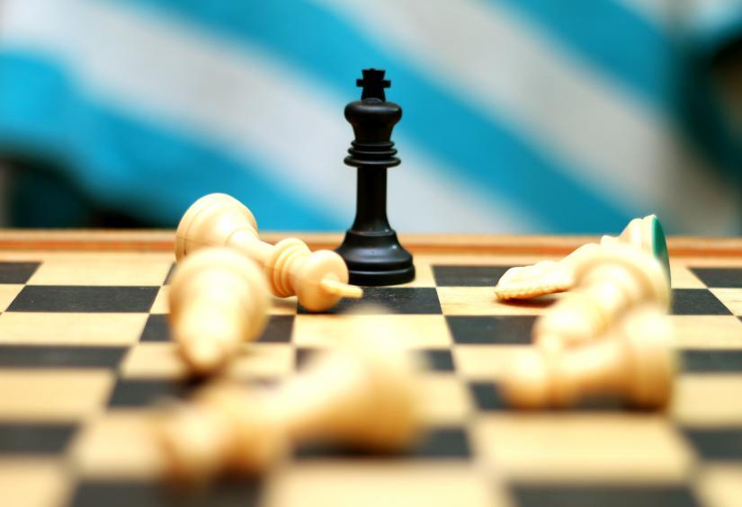 black king on chess board