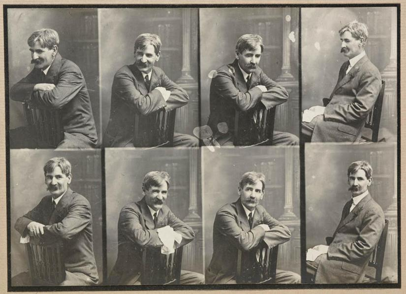 8 black and white portraits of Henry Lawson