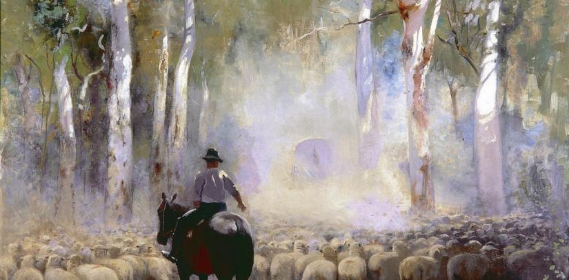'The Drover' oil on canvas, featuring a man droving sheep on a horse