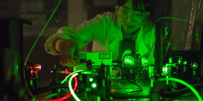 A woman researching photonics