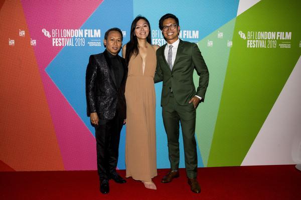 Carlo Velayo, Isabel Sandoval and Jhett Tolentino red carpet premiere for Lingua Franca