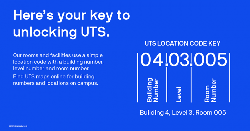 A guide to UTS room codes where the first two digits relate to the building, the second two digits to the level and the final three digits to the room number