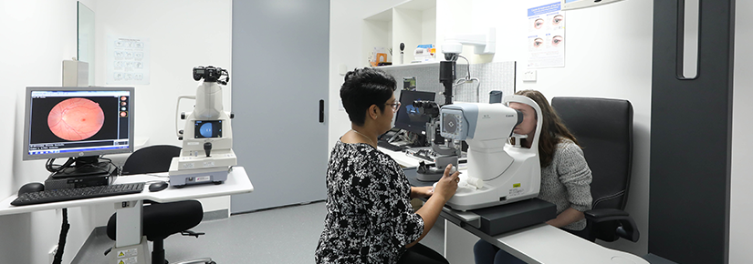 Photo of orthoptist with patient