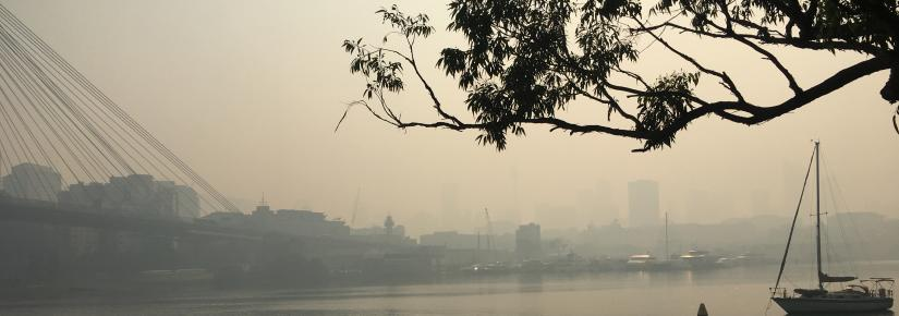 Smoke haze surrounding Sydney
