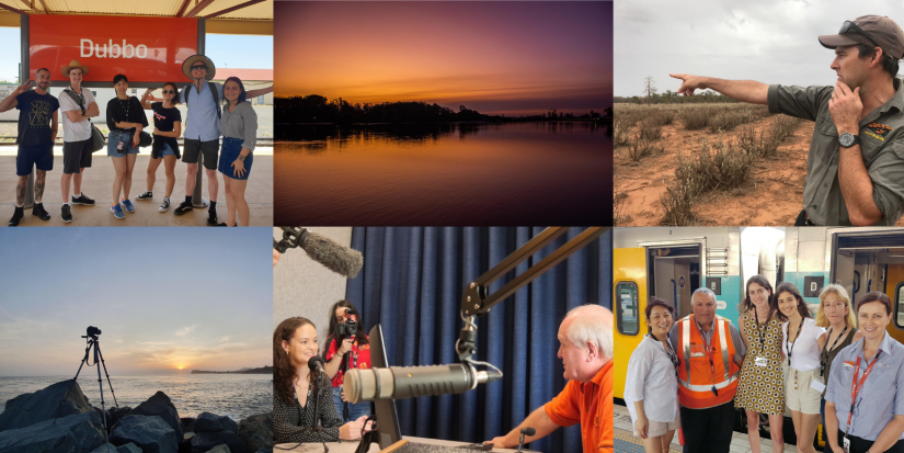 A collage of images of students on the regional reporting trip