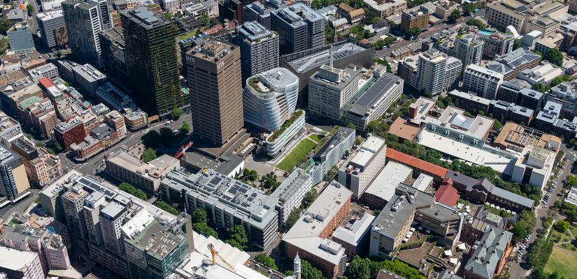 An aerial photograph showing a number of city blocks, including the UTS Tower and other UTS buildings