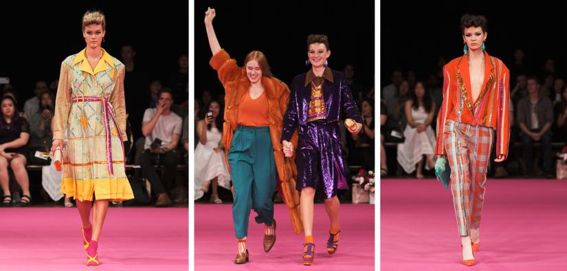 Models wearing Australian fashion designer Tegan Leigh's 70's inspired fashion collection on a pink runway