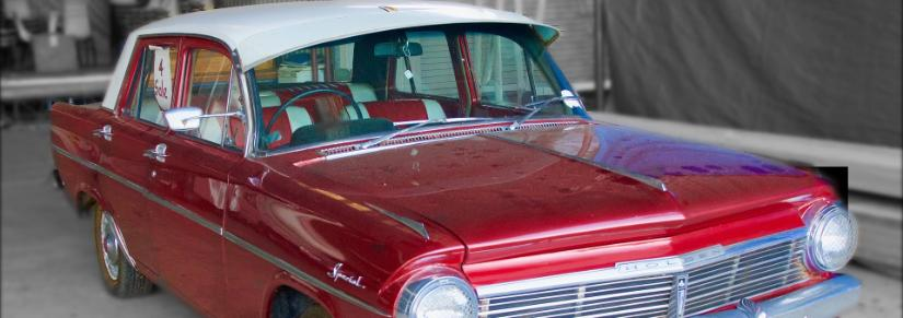 Red vintage Holden car