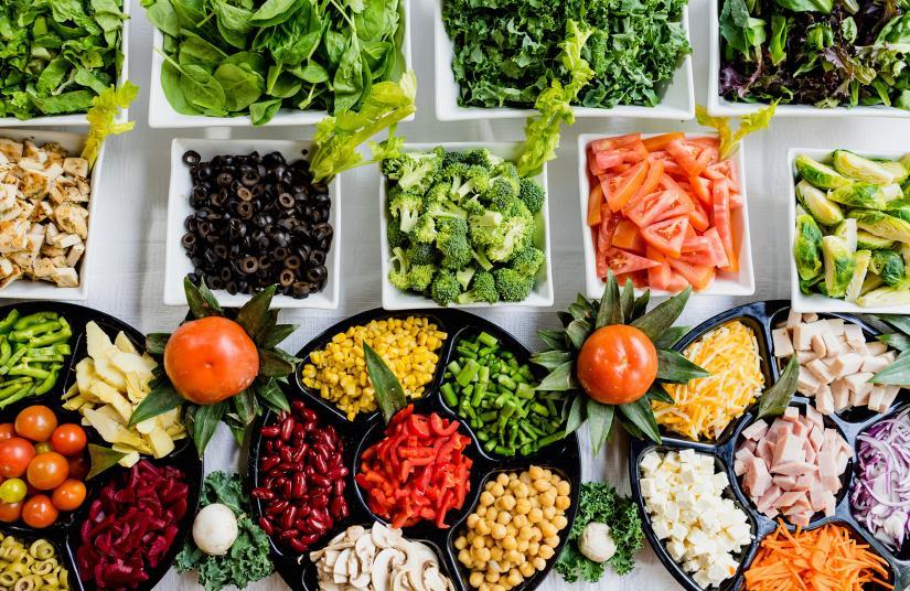Display of a range of healthy foods