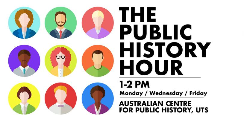 The Public History Hour Logo featuring 9 diverse cartoon faces with text on the right