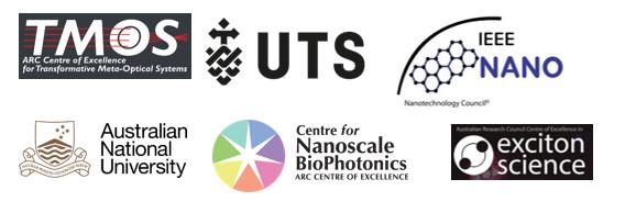 Sponsor icons for TMOS, UTS, IEEE Nano, ANU, Centre for Nanoscake Biophotonics and Exciton science