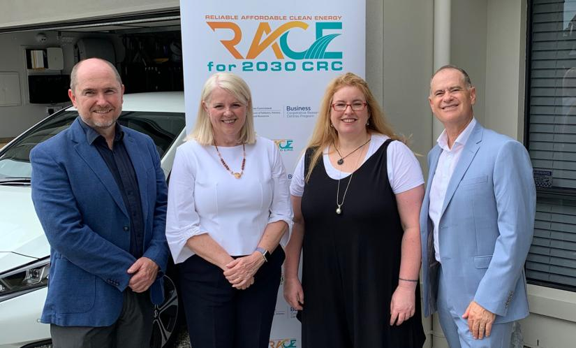 From the left: RACE for 2030 Research Director Chris Dunstan, Federal Minister for Industry, Science and Technology Karen Andrews,UTS Deputy Vice-Chancellor (Research)Kate McGrath andRACE for 2030 Interim Chief Executive OfficerJon Jutsen launching the initiative in Brisbane.