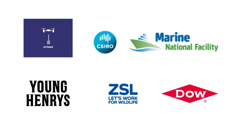 Airseed, CSIRO, Marine National Facility, Young Henrys, ZSL and Dow.
