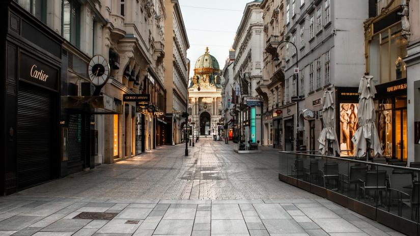 Empty shopping street in Italy