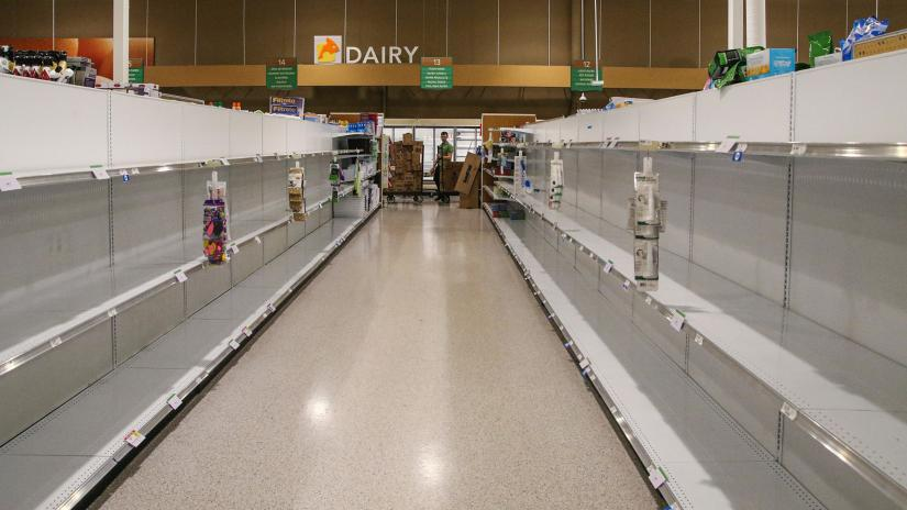 Empty supermarket aisle, no people, no produce