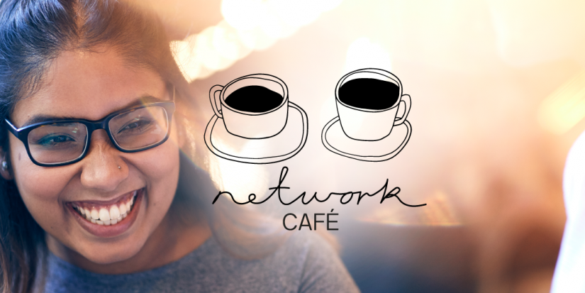 happy network cafe female student with glasses laughing, over laid network cafe logo. Network cafe logo is two illustrated coffee cups.