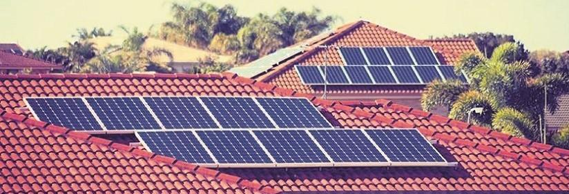 Photo of solar cells on houses