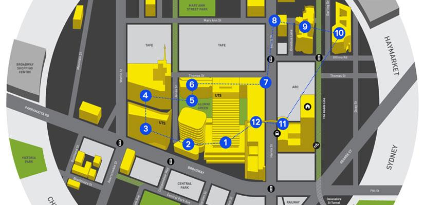 Graphic depicting campus walking tour route