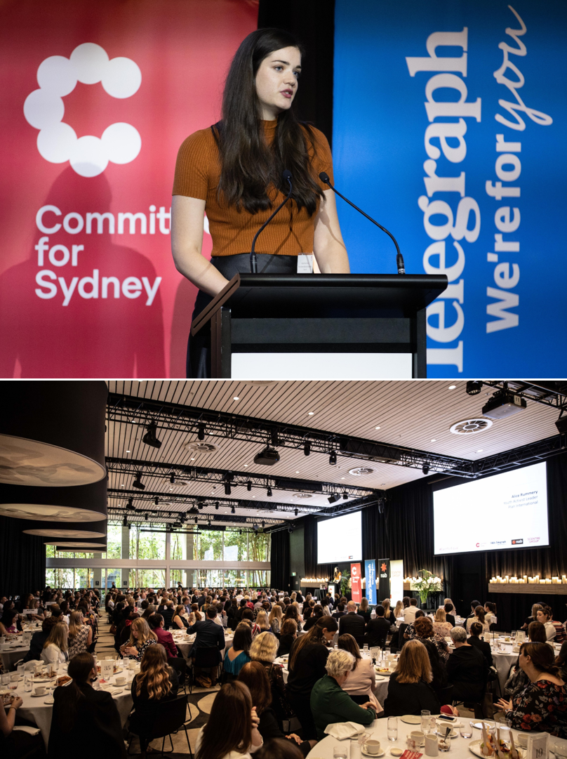 Alice Rummery UTS FASS alumni - Alice giving the Youth Keynote Address at the Committee for Sydney's International Women's Day Event (March 2020) to launch the Sydney Women's Safety Charter