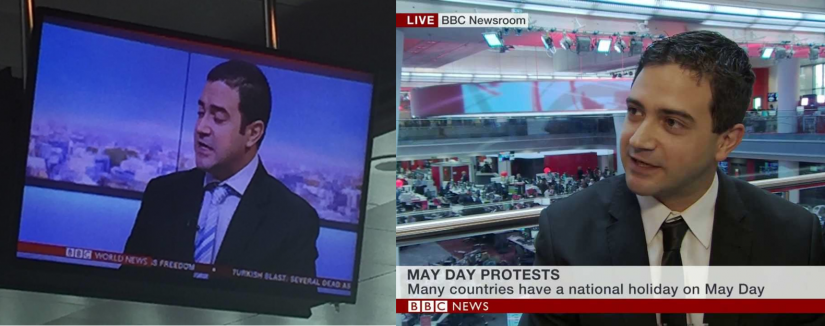 Two images of Seref reporting for BBC in the studio
