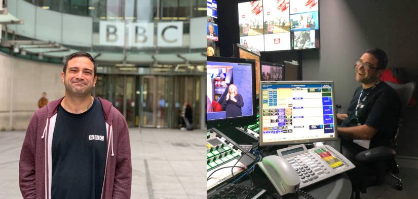 Two images - on the left Seref is standing outside the main entrance to the London BBC studios. On the right, he is sitting in a production studio.