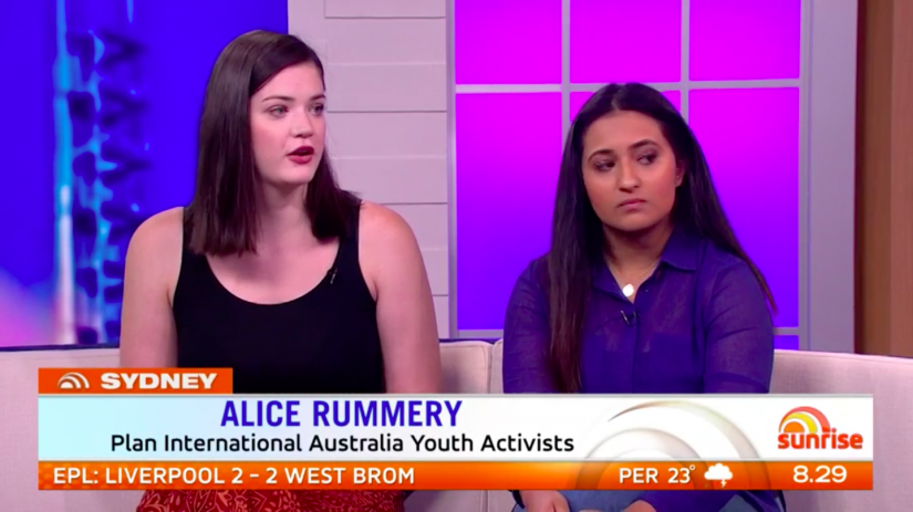 "Alice on Sunrise (April 2018) alongside fellow UTS student Kripa Krithivasan on the launch of Plan International's global women's safety initiative, ""Free to Be""."