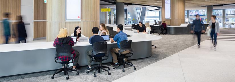 UTS students attend the campus Student Centre