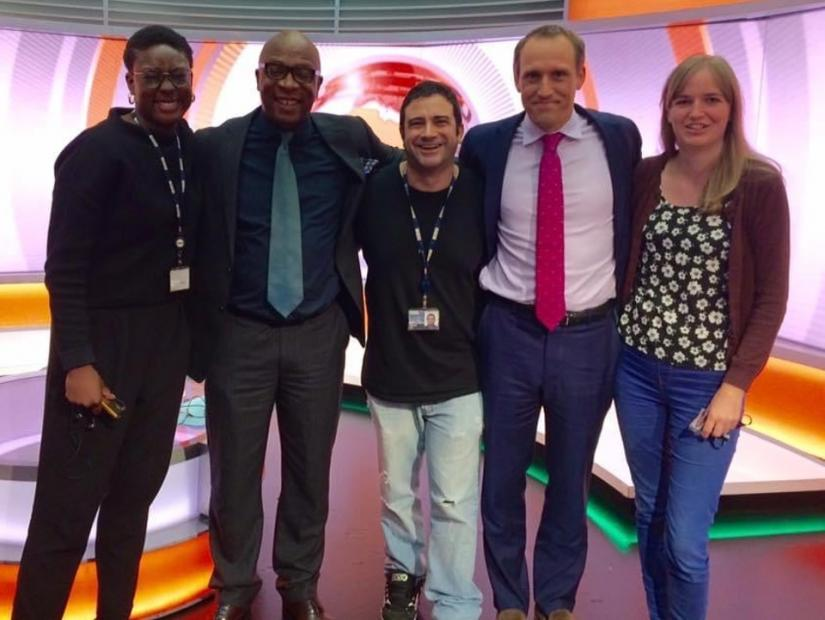Seref Isler - Senior Producer for BBC World program Focus on Africa - with four fellow journalists from the Program - two men and two women