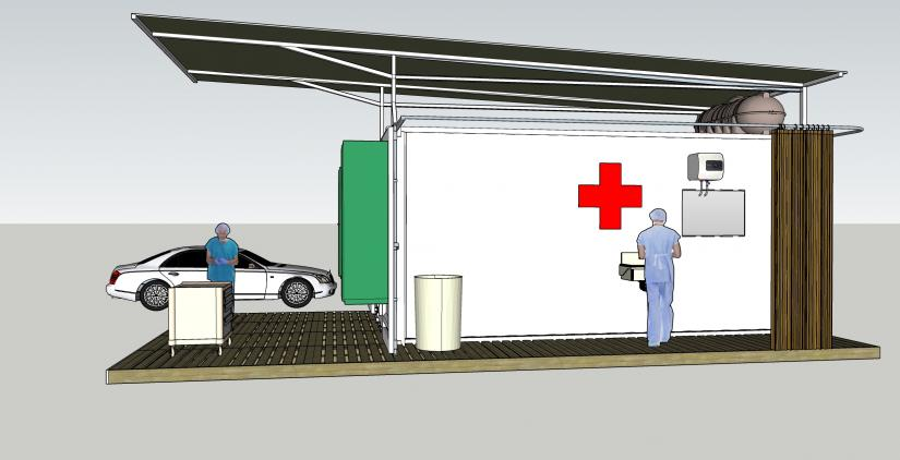 The design of the testing centre is based on a shipping container, which doubles as the packaging for transport. Author provided