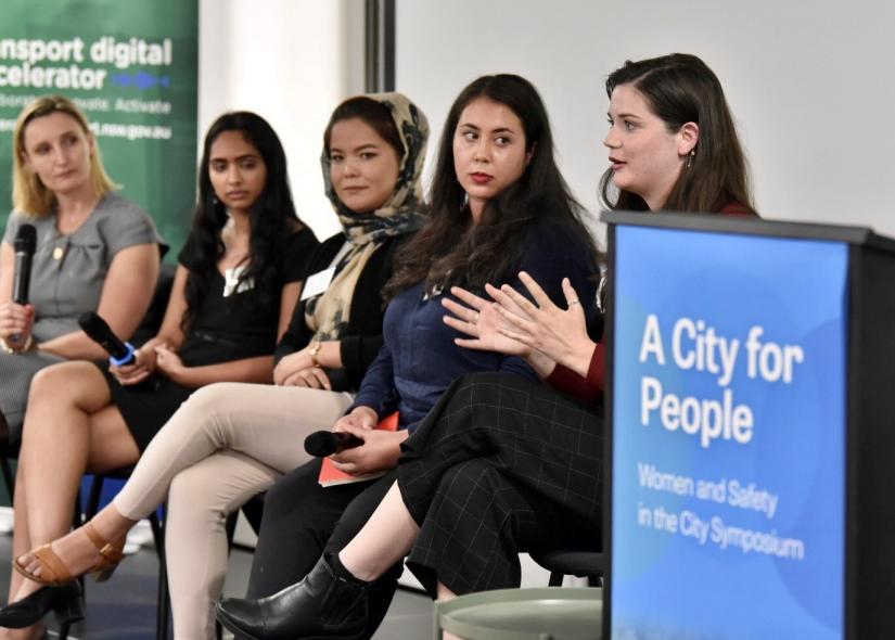 Alice speaking on the youth panel of four young women at the Greater Sydney Commission's (GSC) Women and Safety in the City Symposium (Dec 2019) moderated by Dr Sarah Hill, CEO of the GSC.