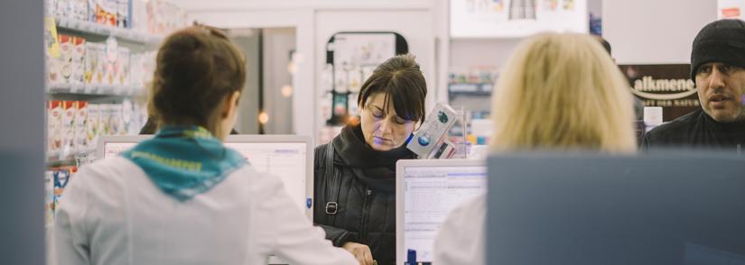 Pharmacists dispensing medicine