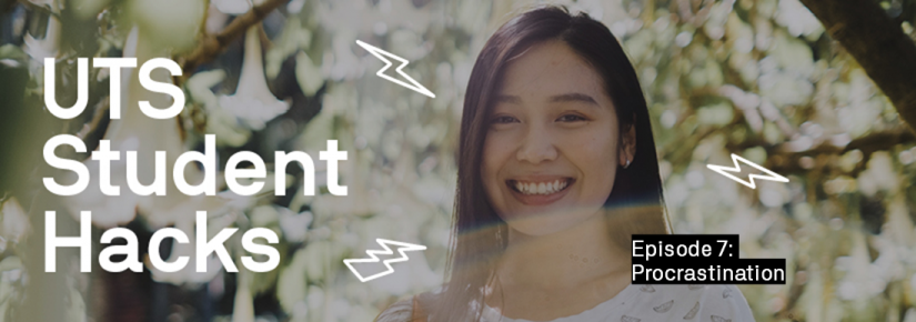 UTS Student Hacks: image of Rebecca smiling under a tree in the background