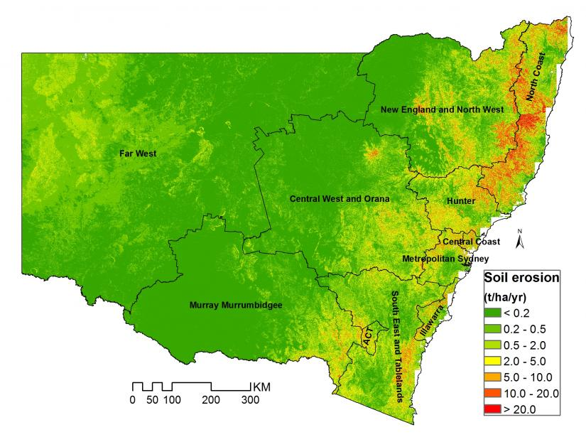 Current mean annual erosion rates (2000–2017) and the spatial variation across NSW.