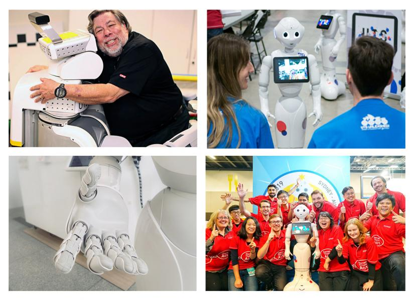 Top left: Steve Wozniak hugs GUTSY, the personalised robot (PR2). Top right: Social robots are designed to show human social characteristics (2 robots stand opposite two UTS students) Bottom left: White robotic open hand Bottom right: UTS Unleashed! team cheering after winning  first place in the Social Robotic League at RoboCup 2019.