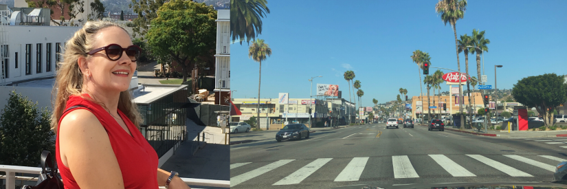 Two images - on the left Kim is in a red top and sunglasses and the photo is of her at LA City College, with the Hollywood Hills in the background. On the right is a picture of the Sunset Strip in LA.