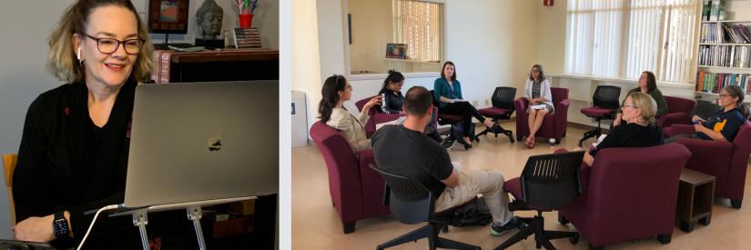 Two images left to right: on the left, Kim at home in COVID-19 times leading a workshop online for UCLA faculty; on the right, pre-COVID19, Kim leading a reading circle on Teaching & Learning at the University of California, Riverside