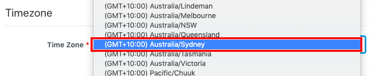 screengrab of portion of proctorU signup page drop-down menu for timezone with red box around selection for sydney australia timezone