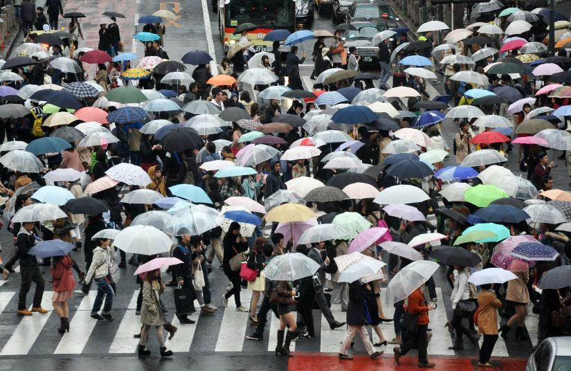 Crowds carrying umbrellas cross a city street