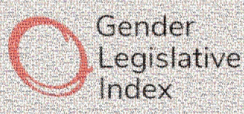 Text: Gender Legislative Index with background images of many women leaders