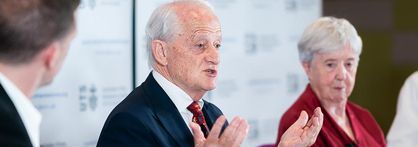 Philip Ruddock speaking at an ACRI human rights panel event with ACRI Director James Laurenceson (left) and Professor Jocelyn Chey.