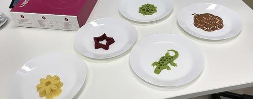 3D printed food on plates