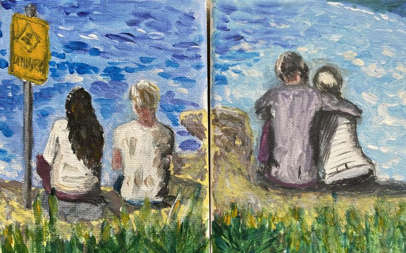 A diptych created by Andrew Jakubowicz from about week 8 of the lockdown of people left looking at the empty beach at Coogee.