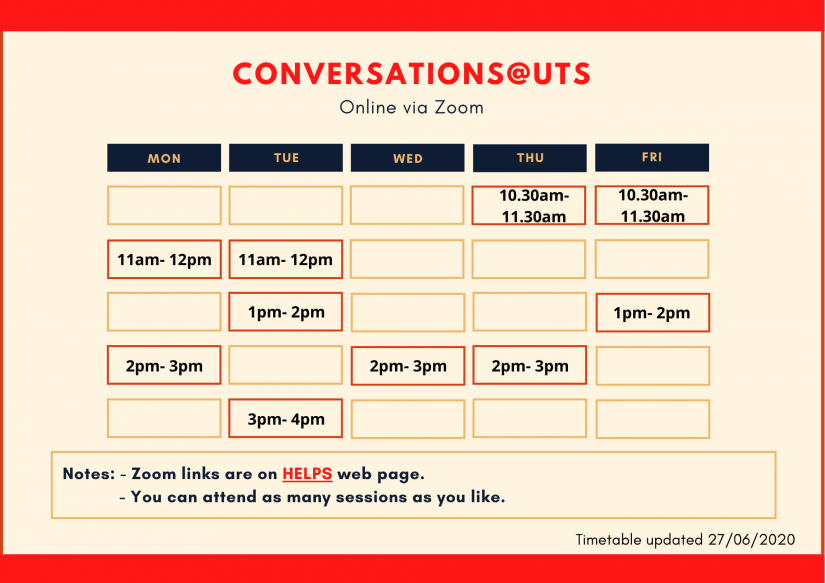 Conversations Timetable