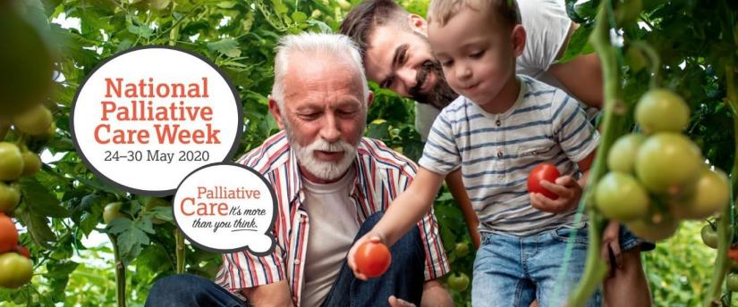 Image of an old man, a middle aged man, and a child picking tomatoes with the text National Palliative Care Week 24-30 MAY